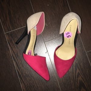 New Chinese. Laundry Color Block Suede Heels